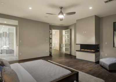 Minimalist Bedroom with Fireplace